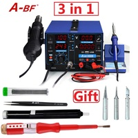 A BF 500D Soldering Rework Station Combine soldering iron hot air gun station power supply 3 in 1 for DIY or smart phone repair