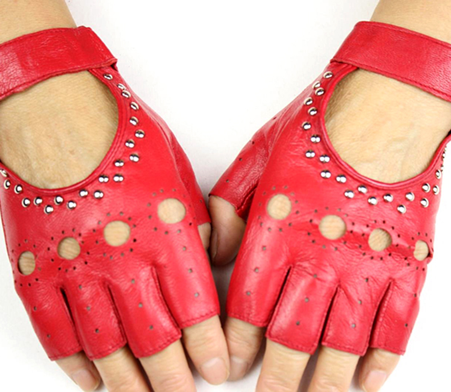 Ladies Half Finger Leather Gloves Fashion Hollow Rivet Style Thin Outdoor Sports Driving Riding Sheepskin Gloves