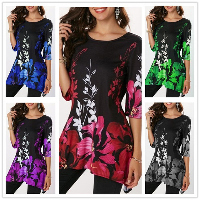 2019 Summer Large Size S-5XL Women's T shirt Half Sleeve O-Neck Floral Print Casual T Shirts Tops Female Loose T Shirt Plus Size