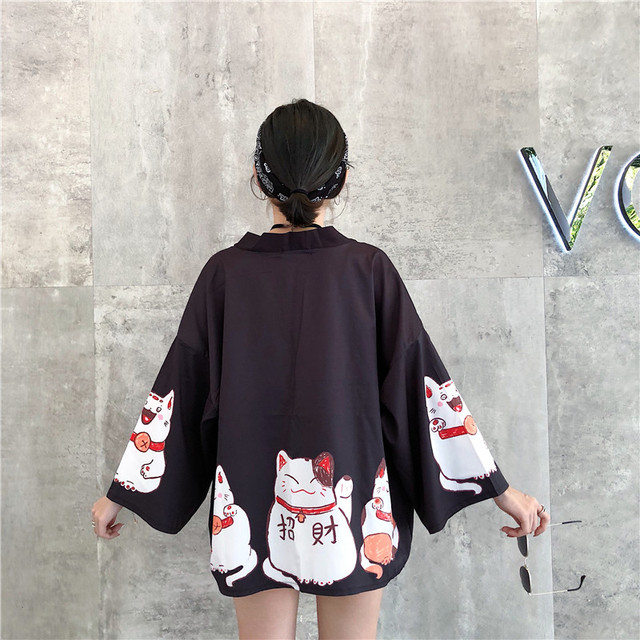 Kpop Ulzzang Cute Fashion Women's Kimono Summer Japanese Harajuku Street Shirts Vintage Kawaii Cat Blouses Female Cardigan Tops 4