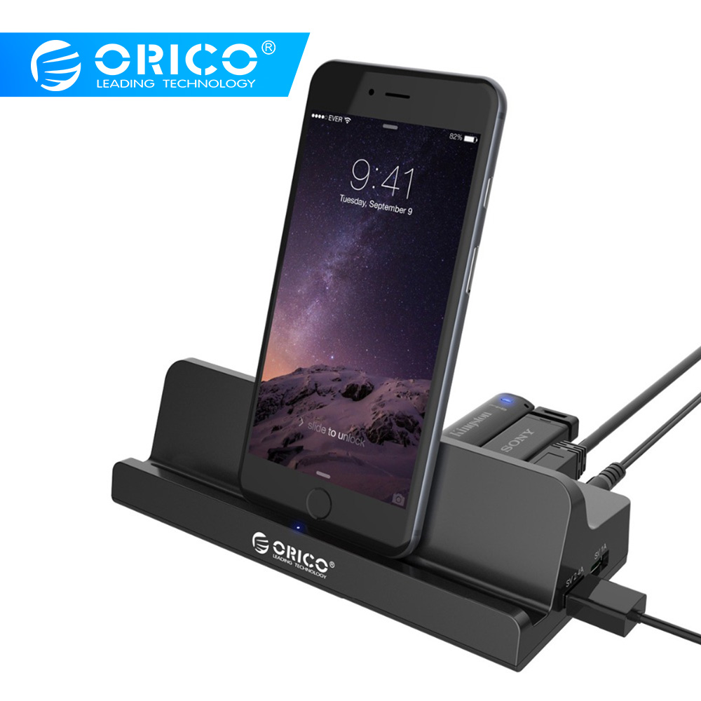 ORICO SH4C2 USB3.0 HUB With Docking Station 4 USB3.0 1 Super Charger 1 Universal Charging Port With Stand For Surface - Black
