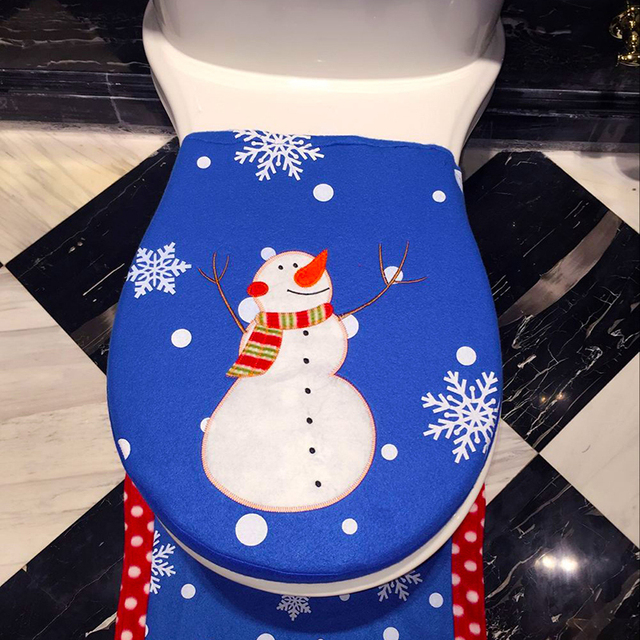 Christmas Toilet Seat Lid Cover Blue Snowman Printing Pattern with Snowflake New Year Home Bathroom Decorating Supplies GA012