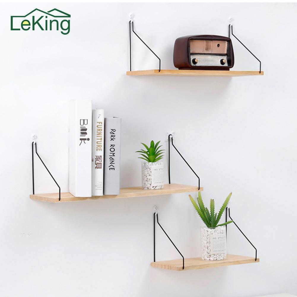 Solid Wooden Wall Shelf Iron Partition Board Bedroom TV Wall Hanging Storage Shelf Rack for Home & Living Room Decoration green lake 3d printing home wall hanging tapestry for decoration