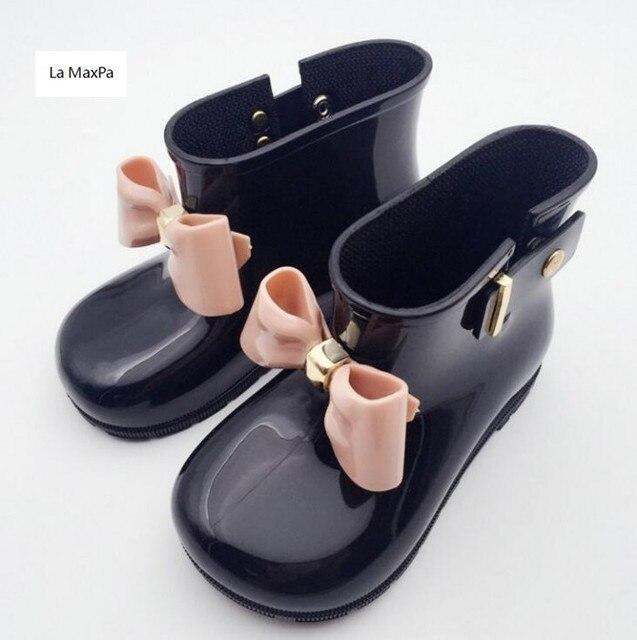 2018 ilkbahar Sonbahar çocuk pvc ayakkabı kızlar yağmur çizmeleri bebek çocuk Bow sevimli kız moda botları kaymaz Jöle ayakkabı su ayakkabı