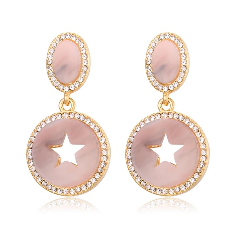 Hollow out Star Pendant Earring Drop Earrings For Women Fashion Jewelry Zircon Statement Earring pendientes mujer moda 2020