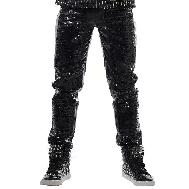 Dj De Pantalones Hombres Paillette Desgaste Etapa Negro Moda La Danza Punk Casuales Cuero cR6g8tn