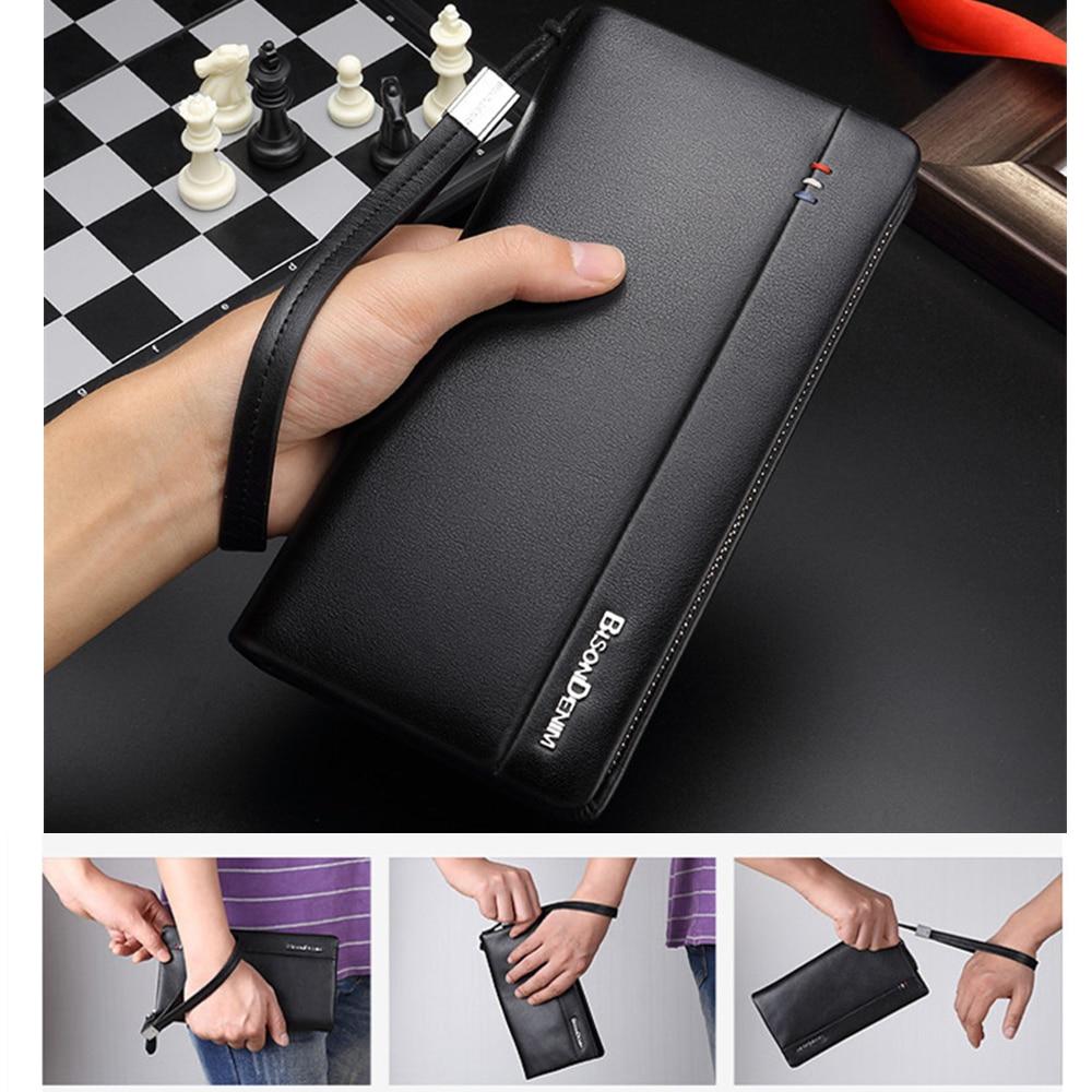 BISON DENIM Genuine Leather Long Wallet Men's Clutch Bag Cowskin Leather Wallets For Male Coin Purse Business Wallets N8008