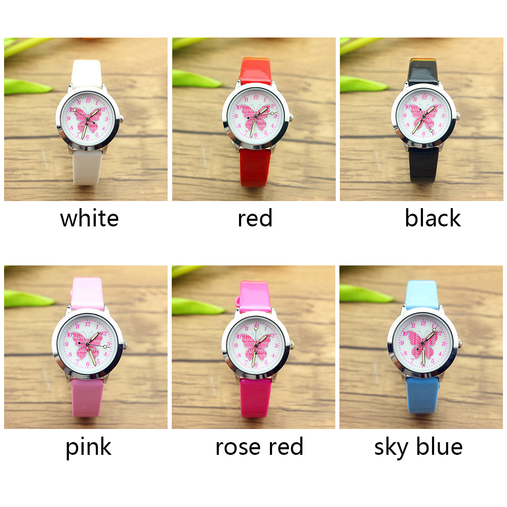 Adjustable Round Case Durable Alloy Fabala Exquisite Quartz Analog Dial Watch Butterfly Cartoon 1