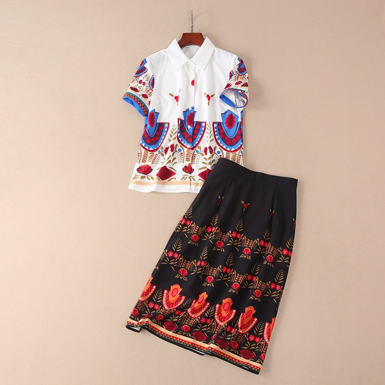 New Design Fashion Runway Suit 2018 Summer Womens Vintage Print National Lapel Shirt + Mid- Half Skirt Set