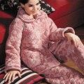 De inverno de alta-grade Ms. coral de veludo acolchoado pijamas três grosso longo-manga treino terno de inverno de espessura Especiais livre grátis