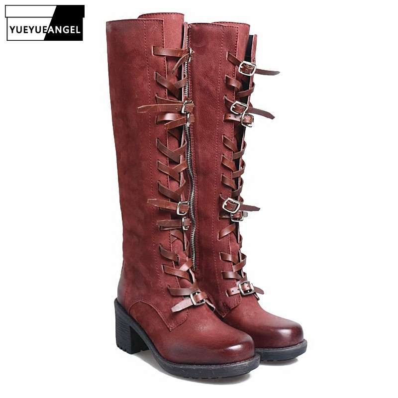 Winter Red Black Long Boots Women Square Toe Zipper Thick Heels Shoes Sexy Cross-tied Belt Buckle Sheepskin Knight Botas MujerWinter Red Black Long Boots Women Square Toe Zipper Thick Heels Shoes Sexy Cross-tied Belt Buckle Sheepskin Knight Botas Mujer