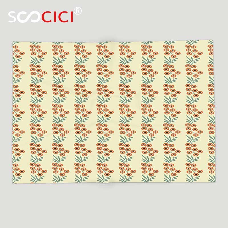 Custom Soft Fleece Throw Blanket Floral Orange Spring Flowers and Leaves Flourishing on Braches Pattern es Cream Orange and Jade