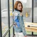 Новое прибытие женские цветные красота печати джинсовой куртке женская случайные свободные пальто Женской моды верхняя одежда