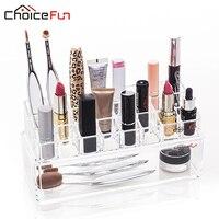 CHOICE FUN Acrylic 24 Grids Makeup Organizer Lipstick Brush Storage Box Clear Organizer Plastic Box Cosmetic Organizador SF 1070