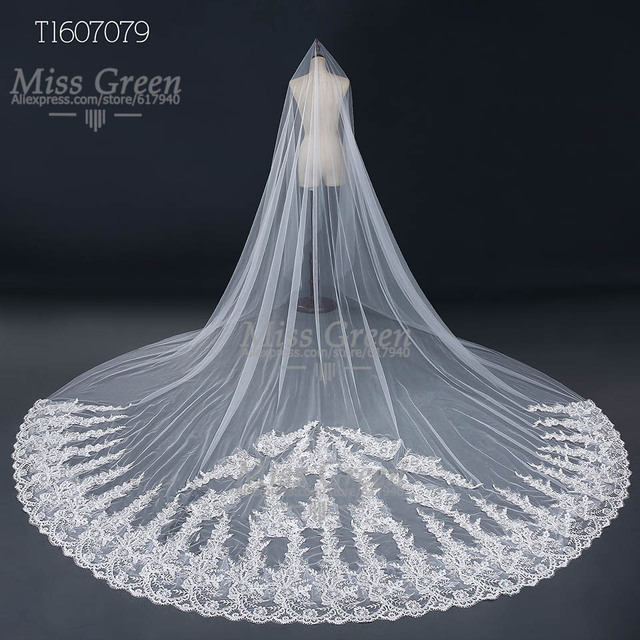 Real Photos Luxury one 3M Cathedral Wedding Veils  Bridal veils  Ivory Lace Bridal Veil Long Wedding Accessories Velos De Novia