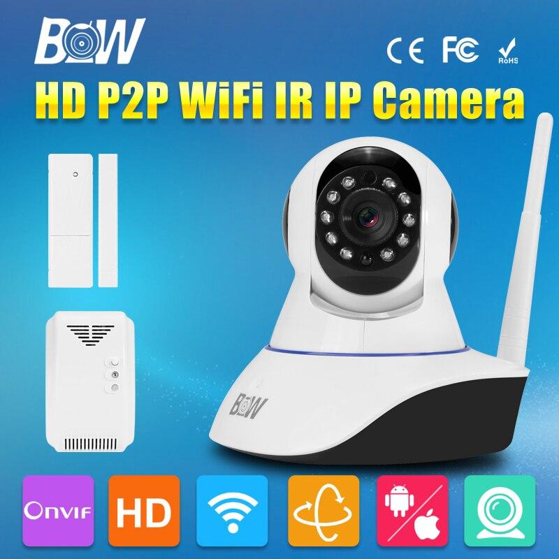 HD 720P Wireless Wifi IP Camera P2P Security Video Surveillance CCTV PTZ 3.6mm Endoscope Gsm Alarm + Door Sensor + Gas Detector wireless wifi ir cut ip camera hd 1mp cmos security cctv ip camera alarm pt for wifi and gsm camera video surveillance
