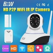HD 720 P Cámara IP Inalámbrica Wifi P2P Seguridad CCTV Video Vigilancia PTZ 3.6mm Endoscopio Gsm de Alarma + Sensor de La Puerta + Detector De Gas