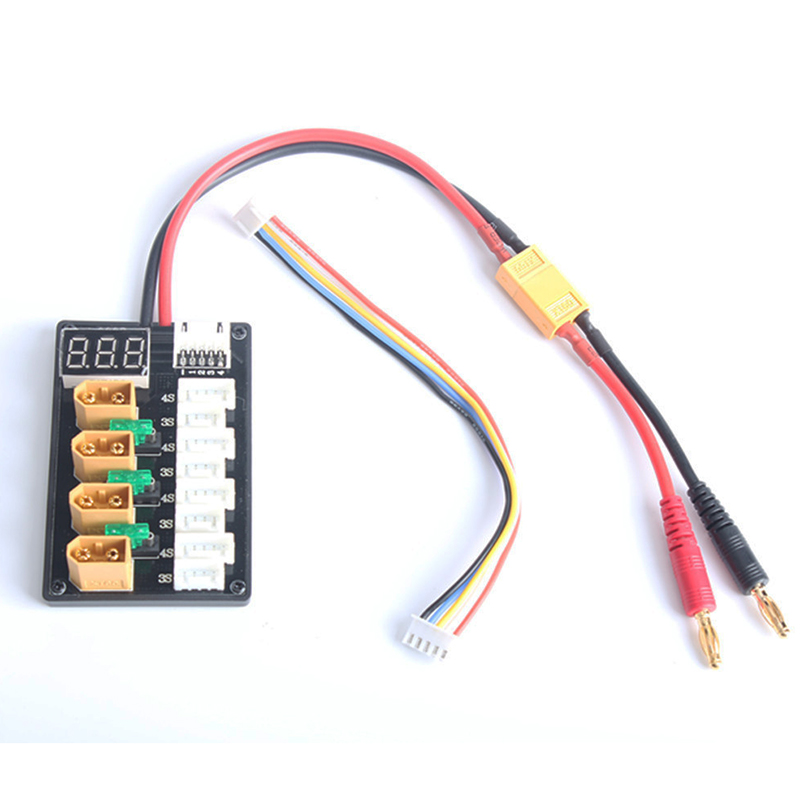 4CH Parallel Charging Board XT60 Banana Plug Male Female Bullets With 14AWG Wire For ISDT D2 Q6 SC-608 SC-620 Imax B6 Charger