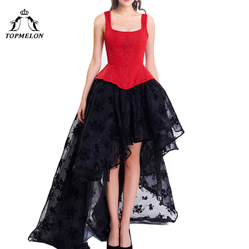 TOPMELON Corset Dress Steampunk Bustier Gothic Corset Women Embroidery Lace Mesh Dress Floral Silky Party Wedding Long Ball Gown