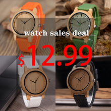BOBO BIRD Causal Bamboo Watches for Men and Women Bright Silicon Band montre femme plastique