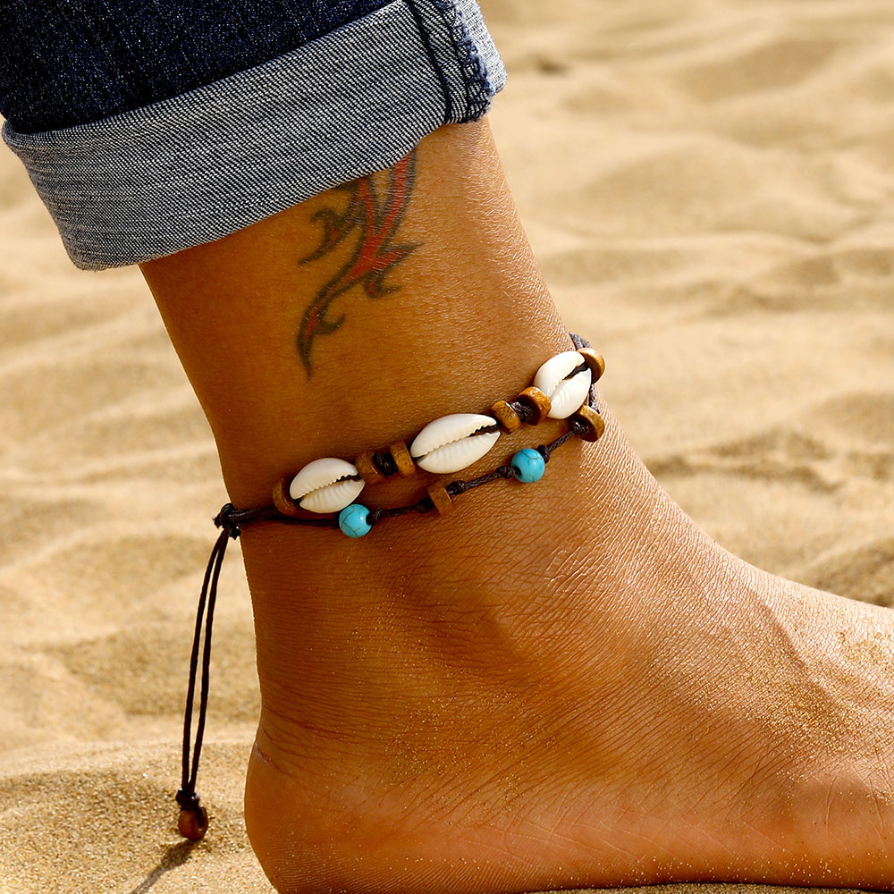 DAXI Bohemia Shell Anklets Set For Women Vintage Handmade Wave Anklet Bracelet on Leg Beach Ocean Jewelry 2019 New