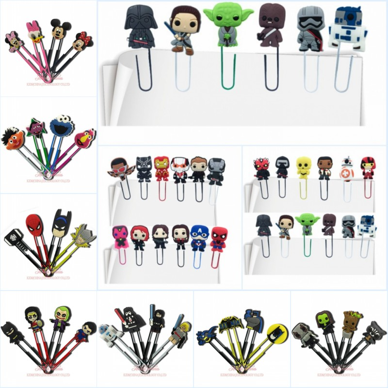 50pcs/lot Avenger Hero Groot Mickey Cartoon Bookmarks For Kids Paper Clips For School Teacher Office DIY Craft Party Gift