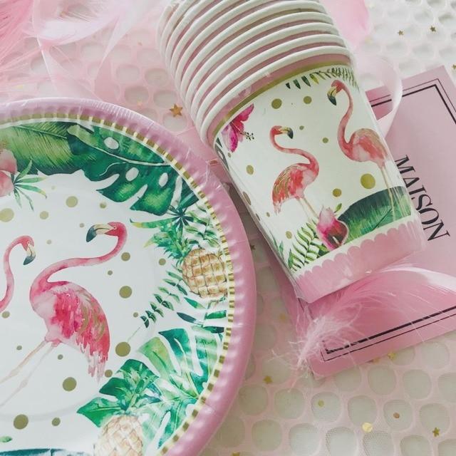 10 pc/pacote Flamingo Bonito Bandeja Prato Descartável Baby Shower da Festa de Aniversário de Casamento Copo Descartável de Férias DIY Decorações Suprimentos