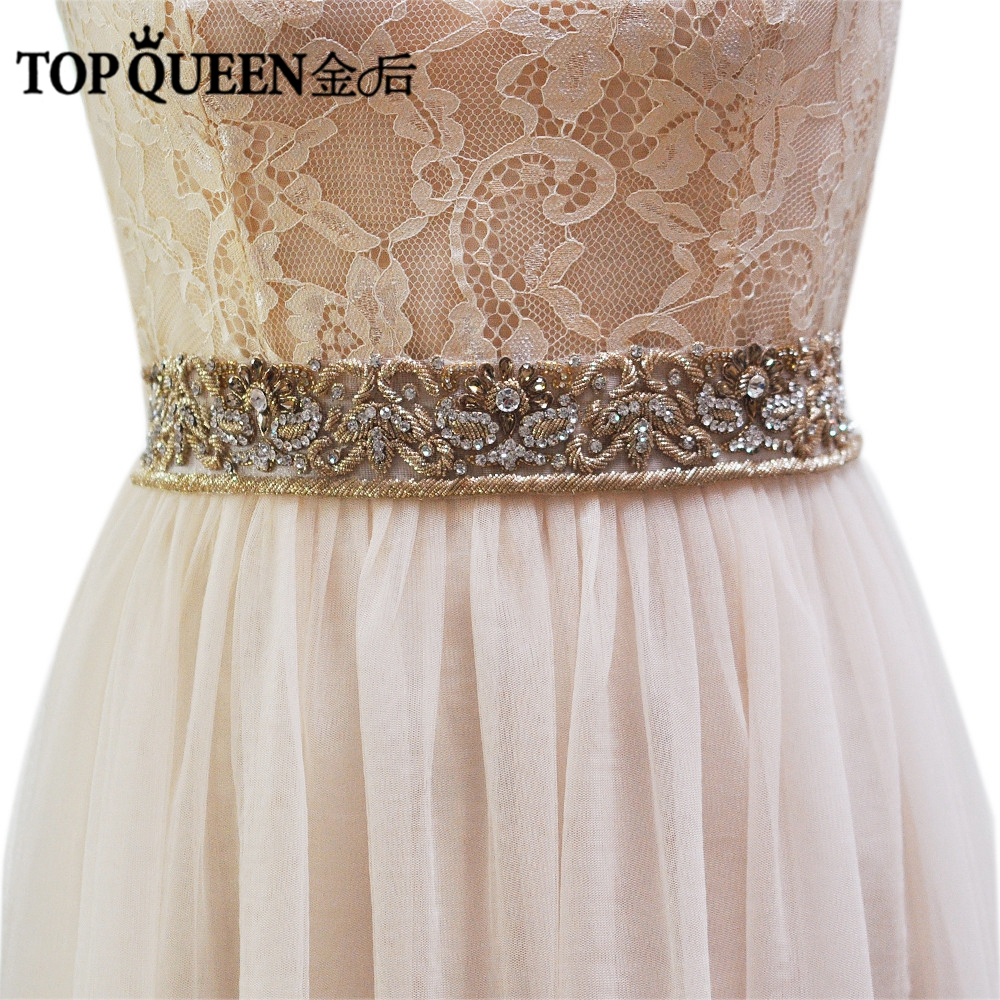 TOPQUEEN AS13 Royal Medal Craft Bride Evening Party Gown Dresses Accessories Wedding Sashes Belt Waistband Bridal
