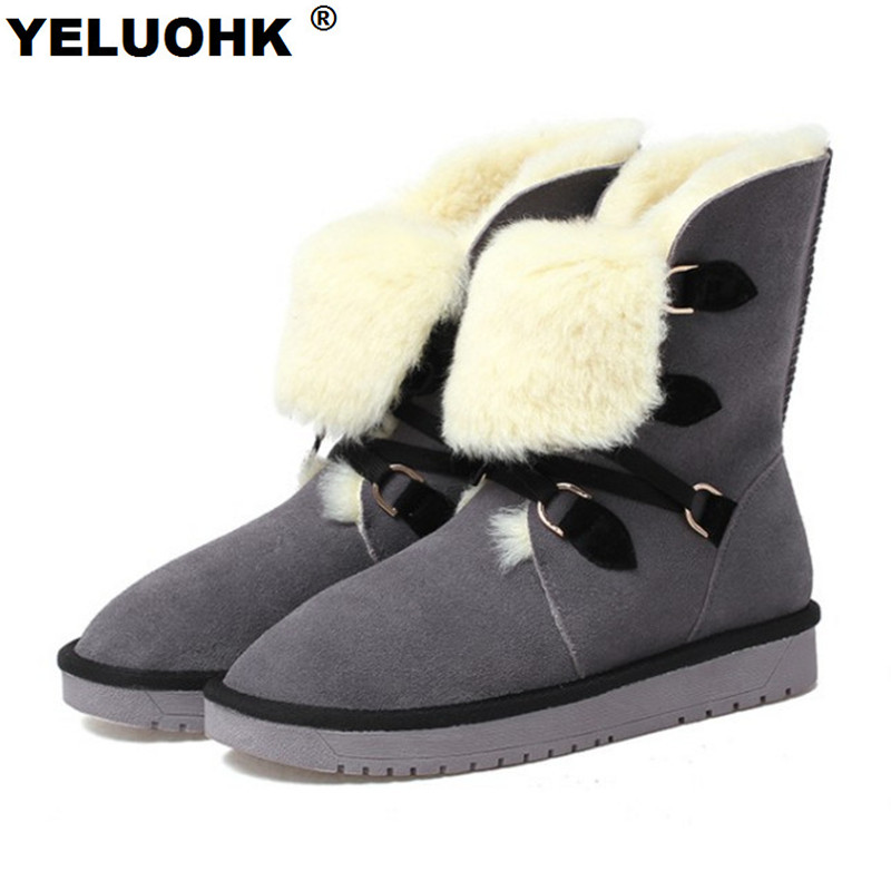 New Boots Female Winter Shoes Cow Suede Warm Snow Boots Women Shoes Winter With Fur Casual Ankle Boots For Women Plush