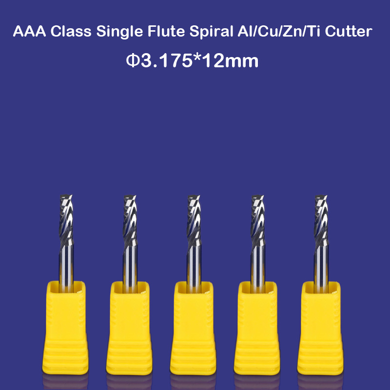 10PCS single Blade Aluminium cutting single flute CNC router bits 12mm 3.175