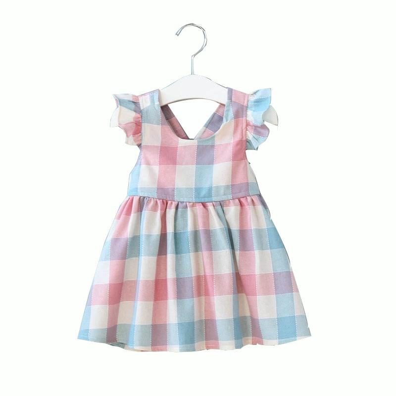 Girls Dress Ruffles Cotton Fashion Sleeveless Summer Plaid