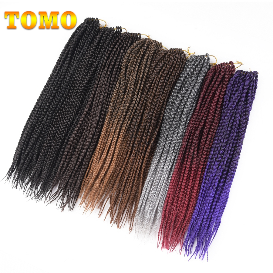 TOMO 14 18 22'' Medium Box Braid Crochet Extensions High Temperature Fiber Synthetic 1Pack/Lot Crochet Braids 22Roots/Pack