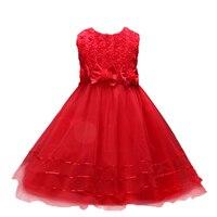 Pluckystarピンクフラワーガールドレスちょう結びパールレースvestido乳児子供のため3-8年妖精ドレス女の子パーティー摩