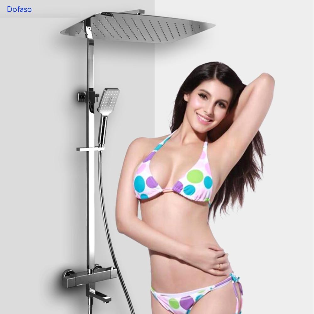 Dofaso all copper big rain shower head rectangle 550*350mm bath shower faucets thermostatic Big Shower Rainfall Set Mixer Faucet