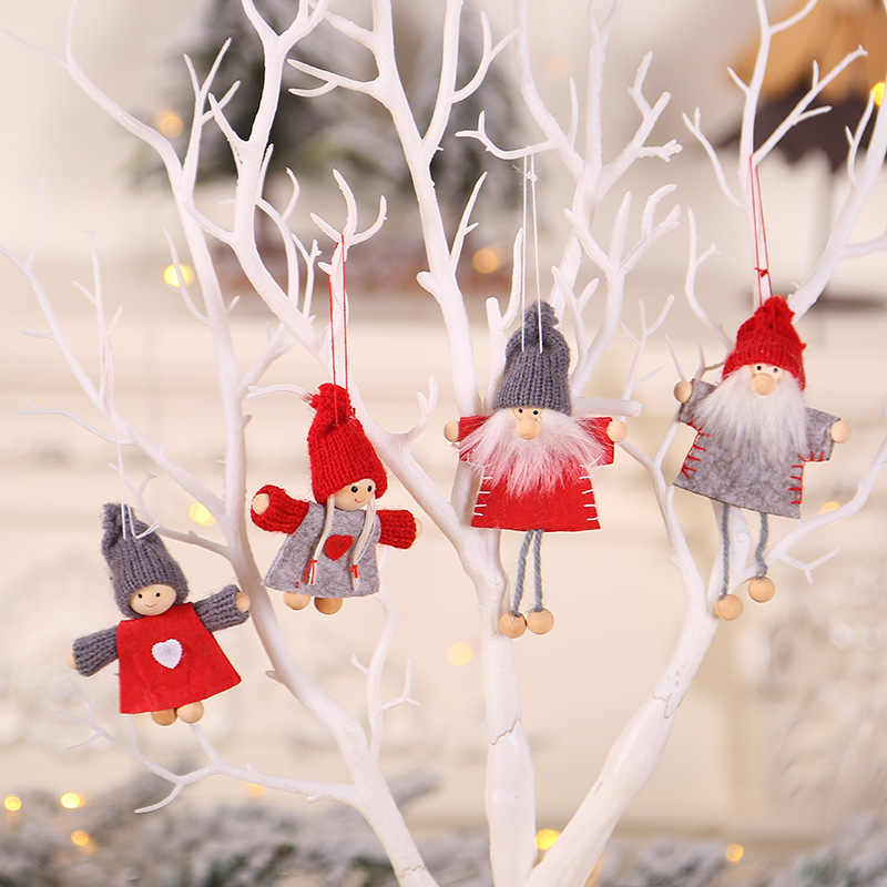 2019 New Year Noel Christmas Angel Girl Boy Ski Plush Dolls Christmas Tree Ornament Pendant Party Christmas Decoration for Home