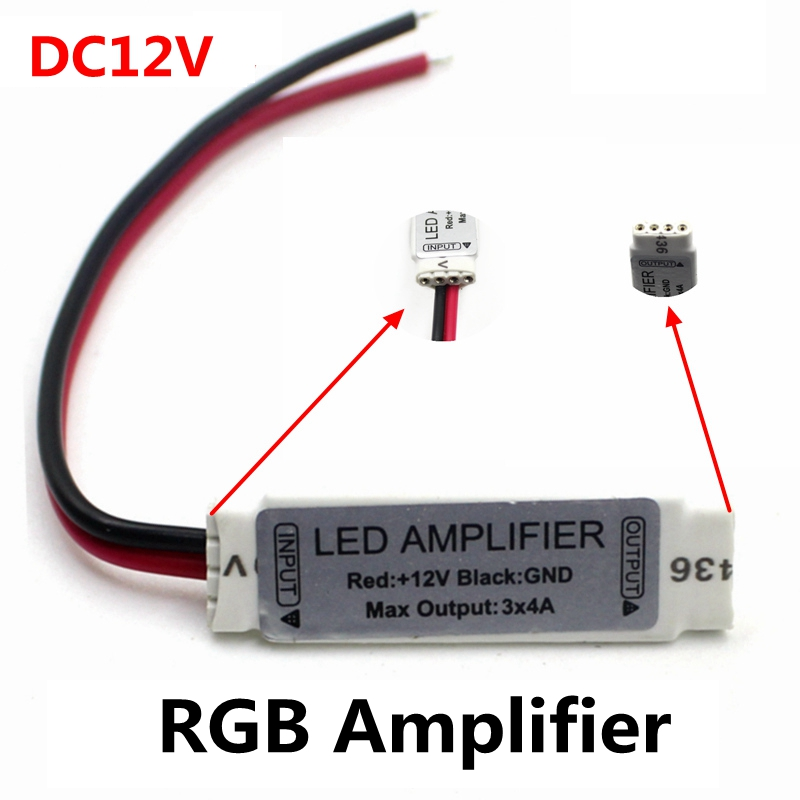 DC12V 3*4A 144W  Mini Portable RGB LED Strip Amplifier Repeater For LED Strip RGB SMD 5050/2835/3528/5730/5630/3014