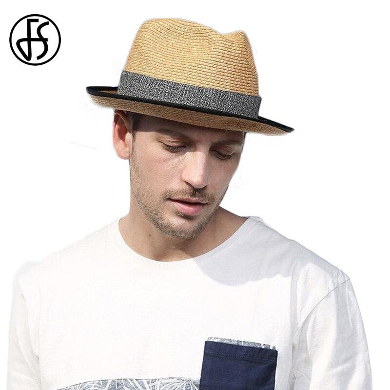 bb6490b85de Detail Feedback Questions about FS Sun Hat For Men Straw Wide Brim Panama  Hats Fashion Summer Beach Sunvisor Male Trilby Jazz Fedora Sombrero Hombre  Verano ...