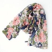 Een stuk vrouwen bloemen gedrukt hijab sjaal oversize viscose sjaal hoofd wraps zachte lange tribal moslim hijaabs stole