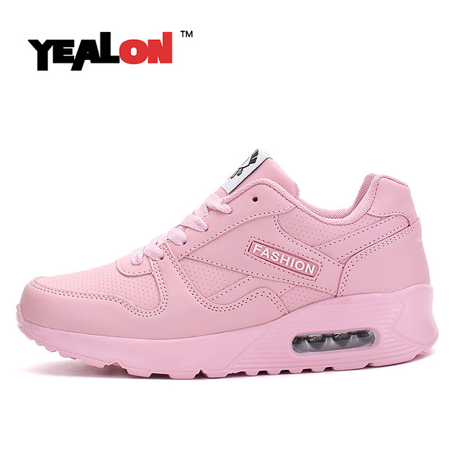YEALON Women Running Shoes Krasovki Womens Sneakers 2017 Sneakers Women Zapatillas Deportivas Mujer Running Pink Size 7.5