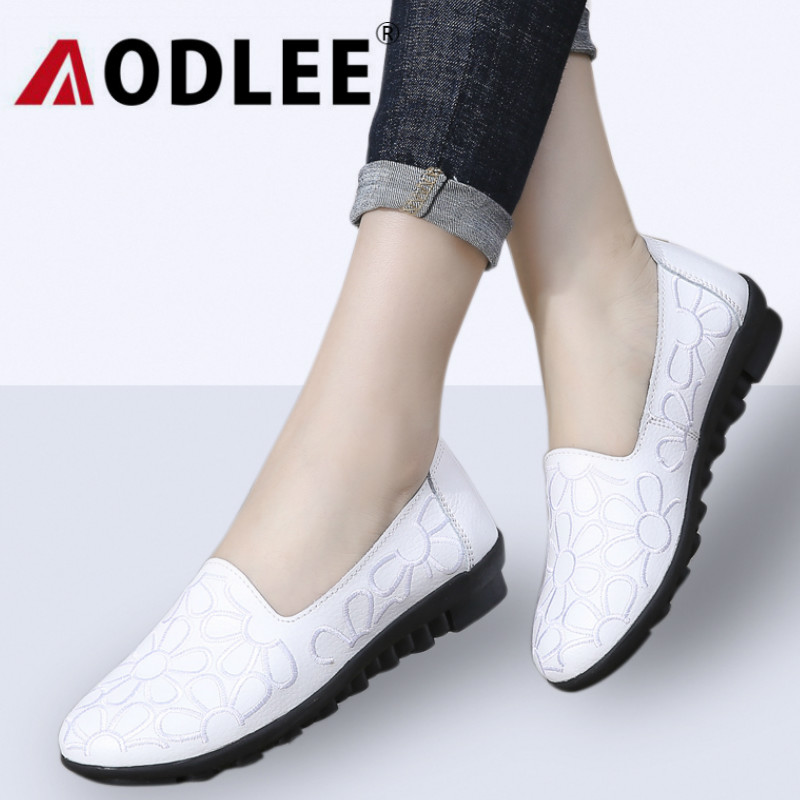 7d2cbe33020a AODLEE Summer Women Ballet Flats Genuine Leather Loafers Shoes Print Slip  On Flat Heel Shoes Ladies