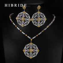 HIBRIDE Luxury Style Round Flower Shape Colorful Swiss CZ Pendants Bridal Women Wedding Jewelry Sets N-65(China)