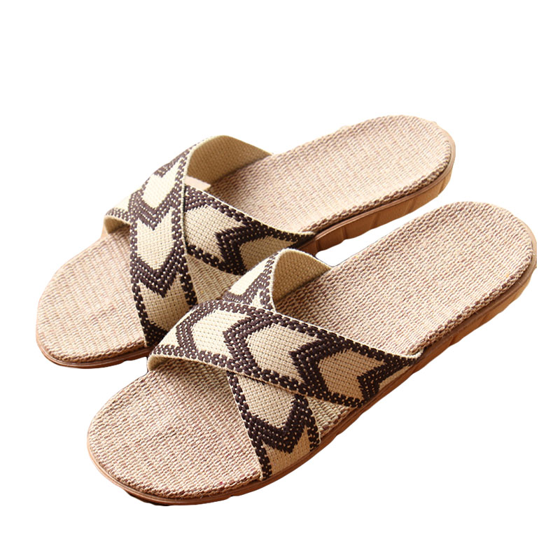 2017 Hot New Summer Men Linen Slippers Brand Quality Flat Ribbon Non-Slip Indoor Flax Slides Home Sandals Man Ethnic Beach Shoe