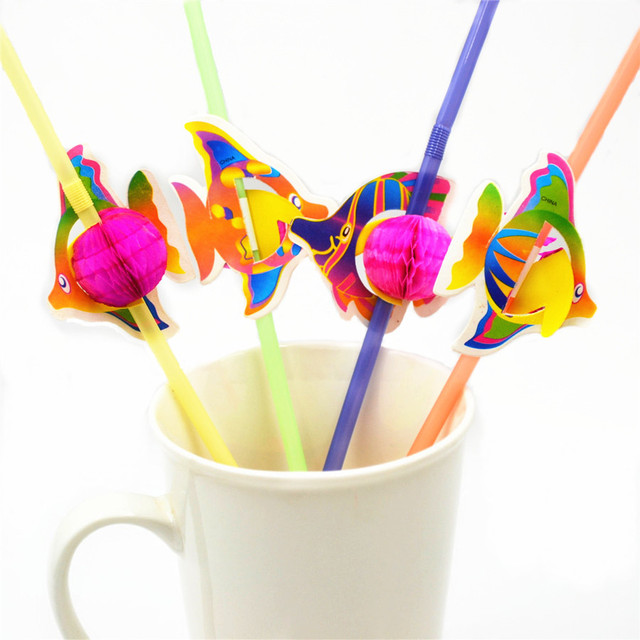 50 sztuk/partia Śliczne 3D Fish Hawaje Koktajlowe Papier Słomki Urodziny Dla Dzieci/Ślub/Basen/Dziecko Party Decoration materiałów eksploatacyjnych