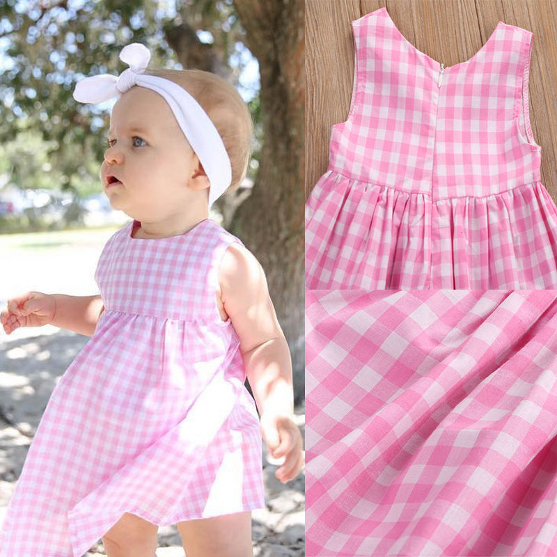 Summer-Princss-Newborn-Baby-Girls-Casual-Sweet-Dress-Sleeveless-Pink-Checked-Dresses-New-Fashion-0-24M-5