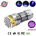 3AAA Aluminium Invisible Blacklight Ink Marker 21LED 21 LED UV Ultra Violet Flashlight Torch Light Lamp