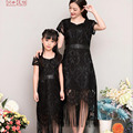 Mother Daughter Dresses 2016 European Summer Mother Mom Daughter Clothes Sequin Black Short Sleeve Dress For Mother Daughter K23