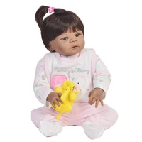 Bebes reborn black doll toys 57cm Full Body Silicone Reborn Baby Doll African girl ethnic doll reborn babies children toys gift