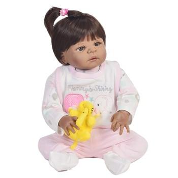 Bebes reborn black doll toys 57cm Full Body Silicone Reborn Baby Doll African girl ethnic doll reborn babies children toys gift