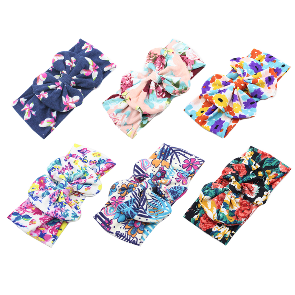 6PCS New Toddler Baby Bow Pattern Cloth Baby Headband Accessories Baby Girl Hairband Floral Headware Hair Accessory