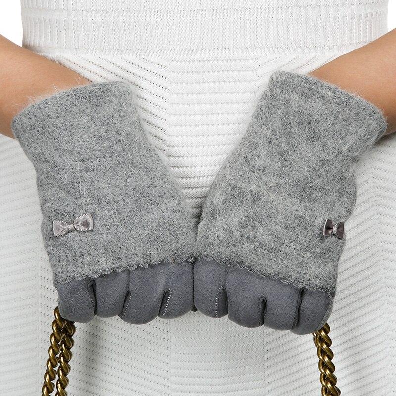REALBY Screen Gloves Winter Angora Wool Gloves Women Elegant Ladies Bow Patchwork Thick Soft Warm Pink Grey Gants Femme A5592